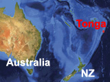 Tonga's location in reference to Australia and New Zealand